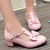 Sweet Womens Round Toe Bowknot Block Low Heel Mary Janes Lolita Shoes UK2.5-8