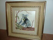 FRAMED 13.7 CM SQUARE PORCELAIN TILE PLAQUE KOALA BEAR PICTURE BY BONNIE JONES