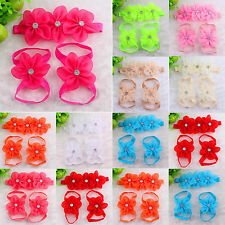 3pc Baby Girl Kids Barefoot Sandals Shoes Headband Crystal Flower Foot Band
