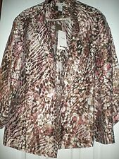 NEW CHICO'S BERNITA ANIMAL PATTERN CALIENTE CORAL OPEN JACKET 3/4 SLEEVES SIZE 2