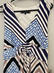 PRINCIPLES  BEN DE LISI MAXI DRESS BLUE/ BROWN SIZE UK16 BUST 40-44
