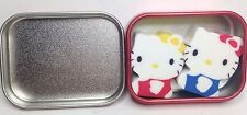 New Rare Vintage 2001 Retired Sanrio Hello Kitty Eraser Set In Metal Tin