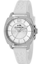 Coach Women's Boyfriend White Silicone Monogram Silver Watch 14502093 $175