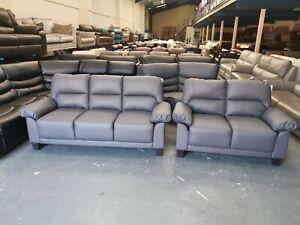 New Kenton grey faux leather 3+2 seater sofas