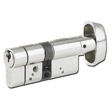 Yale Anti Snap 6 Pin Euro Cylinder Thumbturn 35/35 Nickel Plated UPVC Door
