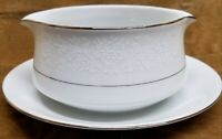 WAKEFIELD JAPAN GRAVY BOAT W/ATTACHED PLATE PLATINUM TRIM WHITE LACE FLOWERS 364