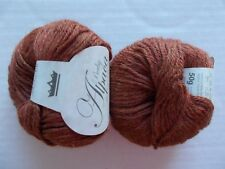 King Cole Baby Alpaca 100% Alpaca DK yarn, Rust, lot of 2, Peru (110 yds ea)