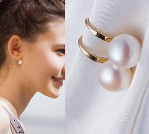 Lady 1 Pair Women Lady Elegant White Pearl Crystal Rhinestone Ear Stud Earrings