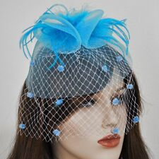 Acconciatura Blu turchese Fascinator Velo Puntini Accessorio per capelli Rete