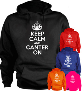 KEEP CALM AND CANTER ON Horse Riding  Present Gift New Hoodie