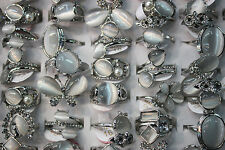 Wholesale Lots 30pcs charming white cat's-eye stone silver plated Lady's rings
