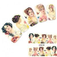 Tattoo Nail Art Dame mit Blumen Barock Aufkleber Nagel Sticker