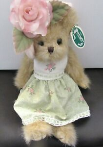 Bearington Bear avery dress with flowers hat with flower- green pink white