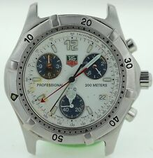 TAG HEUER MENS CK1111 PROFESSIONAL WHITE DIAL CHRONOGRAPH PARTS OR REPAIRS AS-IS