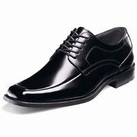 Stacy Adams Mens Black Calhoun Leather Lace Up Trendy Dress Moc Toe Wide Shoe