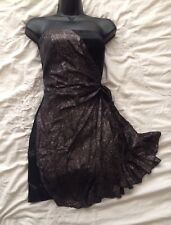 (#1532) KAREN MILLEN Black Satin  Party Dress with Gold Overlay Size 8 UK