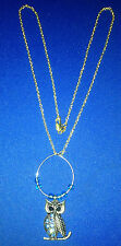 BRAND NEW 18 INCH YELLOW GOLD COLOR NECKLACE WITH NIGHT OWL PENDANT!