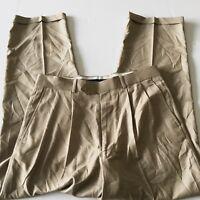 Alan Flusser Men's Cuffed Golf Pleated Dress Pants Size 32X30 Beige Thin Nice