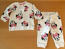 H&M Baby Girls 2 Pc Minnie Mouse Sweatshirt & Jogger Pants Outfit Set 2-4 Mo NEW