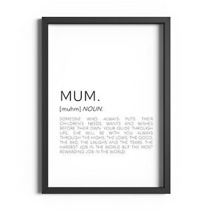 Mum Definition Print Mothers Day Gift Wall Art Home Decor Positive Quote Sign