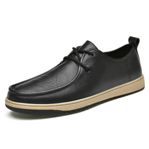 Casual Mens Round Toe Walking Flat Shoes Faux Leather Driving Moccasin Shoes New
