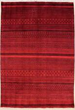 Rugstc 5x8 Senneh Gabbeh Red Area Rug,Vegetable dye, Hand-Knotted,Wool Pile