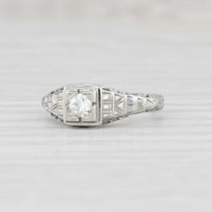 Art Deco Diamond Engagement Ring 18k White Gold Size 3.75 Filigree Solitaire