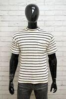 Maglia LEVIS Uomo Taglia Size L Maglietta Shirt Man Cotone Bianco Nero a Righe
