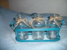 Wedding party decor 3 glass milk jars with carrier blue summer vase decor Lovely
