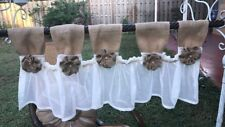 New French vintage Twine -Shabby Rustic Chic BURLAP Curtain Valance Country Whit