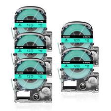 5x Étiquettes Cartouche Compatible pour KingJim SC12GW Noir sur Vert 12mm Ruban