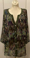 New! XL Anthropologie Fig and Flower Semi Sheer Chiffon Tiered V-neck Blouse Top