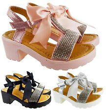 51c5f9ad7f8d KIDS GIRLS CHILDRENS SUMMER LOW HEEL BOW DIAMANTE PARTY WEDDING SHOES  SANDALS SZ