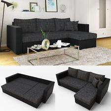 Ecksofa mit Schlaffunktion Schwarz Grau - Couch Schlafsofa Bett Polsterecke