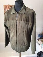 "vintage St. Michael / M&S khaki green wool/ suede patch zipper cardigan L 39-41"""