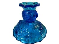 Fenton Glass 1960's Colonial Blue Embossed Roses Pattern Candleholder