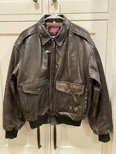 Vintage Verducci Leather Jacket Men Size 40 Bomber Flight Aviator Brown 80s Rare