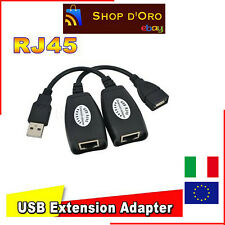 USB Cat5 6 RJ45 LAN Adattatore prolunga estensione extension via cavo cable new