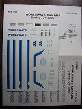 1/144 AHS DECAL BOEING 707-320C WORLDWAYS CANADA DECALCOMANIES