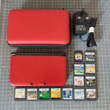 Red Nintendo 3DS XL Consola con 12 Juegos, Funda Y Cargador