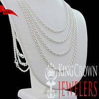 Real Sterling Silver Italy Made Diamond Cut Solid Rope Chain Necklace 2.5 mm