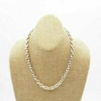 Vintage Silver Tone Rolo Chain Toggle Clasp Fashion Necklace 18 Inch