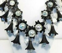 VTG style BLK FLORAL ICICLES Bib STATEMENT NECKLACE Plastic Beads HAND MADE USA