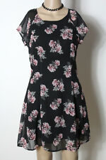 H&M Kleid Gr. 38 schwarz mini Kurzarm Party Chiffon Kleid mit altrosa Rosen
