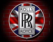 ROTOLI ROYCE LED 600mm illuminato GARAGE APPLIQUE luce da parete auto emblema