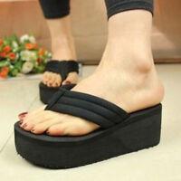 Women's Flip Flops High Slippers Wedge Platform Heel Shoes Summer Antiskid Beach