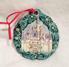 Vintage Disneyland Sleeping Beauty Castle Porcelain Ornament Mint Blue & Green