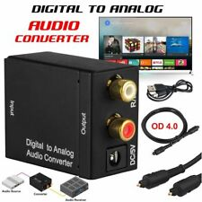 Digital Optical Coax to Analog RCA L/R Audio Adapter w/Fiber Cable for TV DVD US