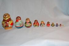 "10 "" MATRYOSHKA DINNER RUSSIAN 10 PC. NESTING DOLLS HAND PAINTED AND SIGNED"