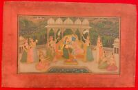 Hand Painted Krishna Radha God Painting India Artwork Paper Hindu Goddess Paper